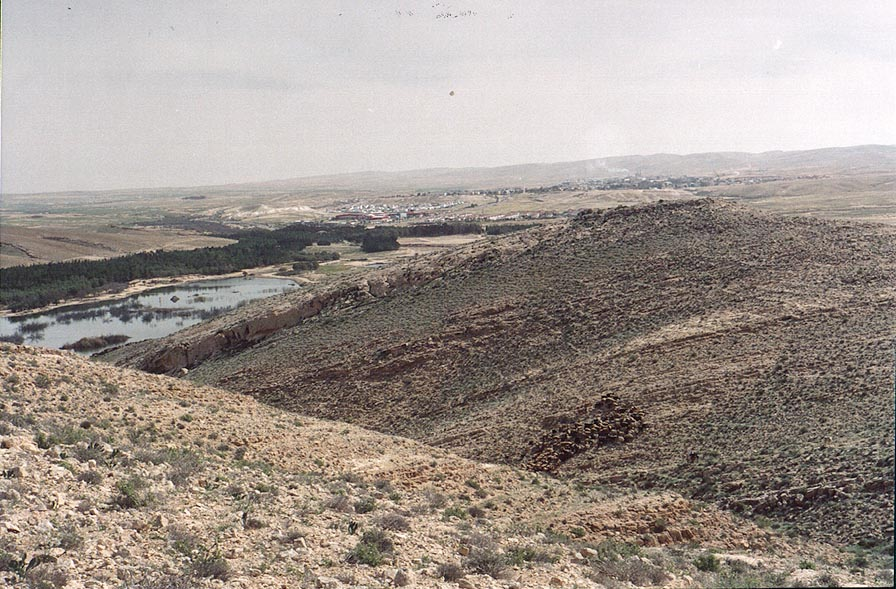 View from a mountain ridge behind Yeroham reservoir. The Middle East