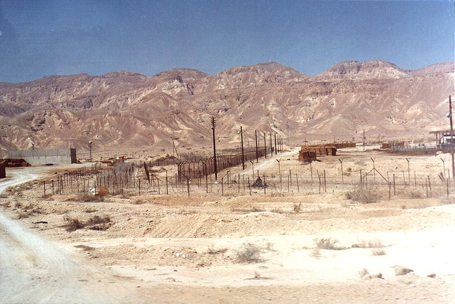 Kibbutz Qetura (behind five lines of barbed wire), view from Arava Rd. 90. The Middle East