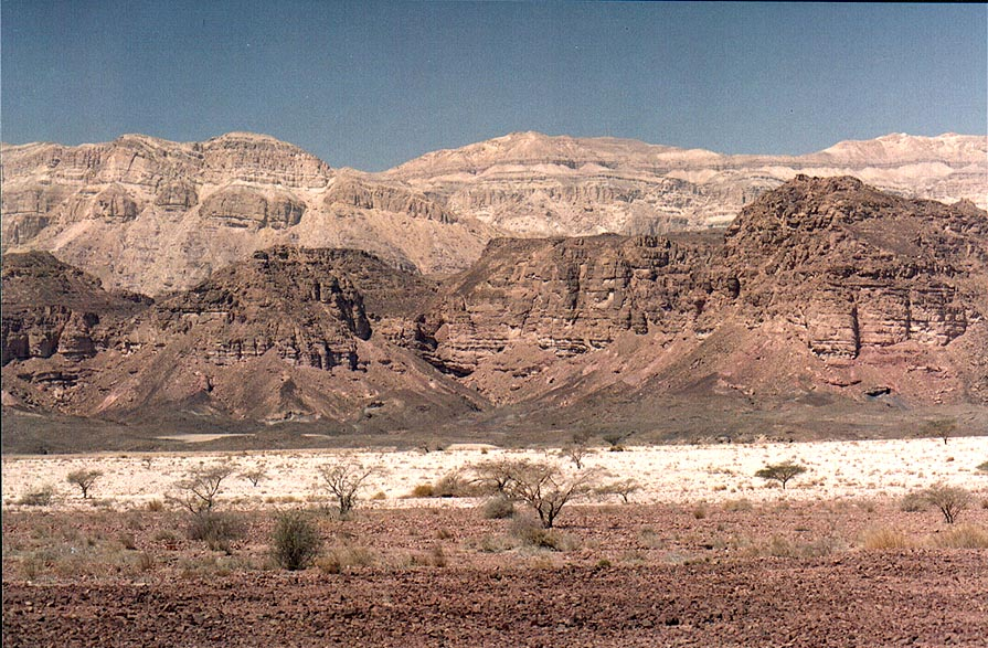 View of Timna Stream and Mount Mikhrot to the north from Timna Park gate. The Middle East
