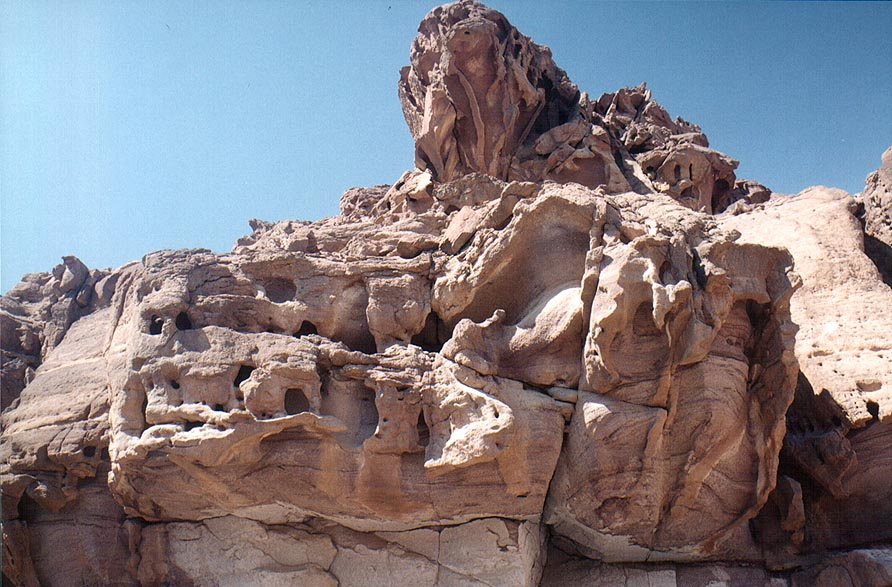 Upper fragment of a sandstone formation in Timna Mountains. The Middle East