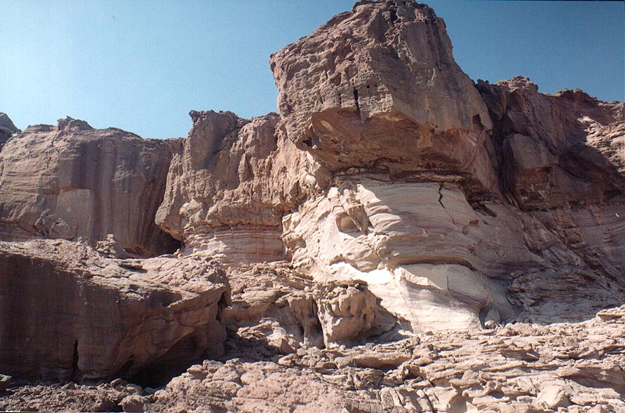 Sandstone formation in Timna Mountains. The Middle East