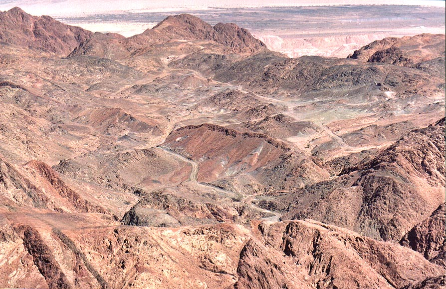 View of a road and old mines along Alakhson River from Timna Stage. The Middle East