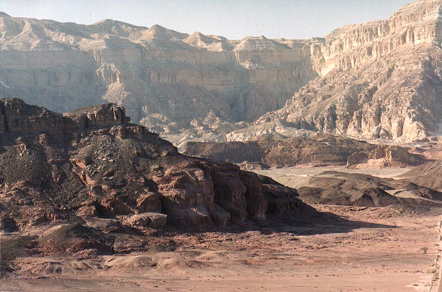 View of copper mines from a small pass north from...in Timna mountains. The Middle East