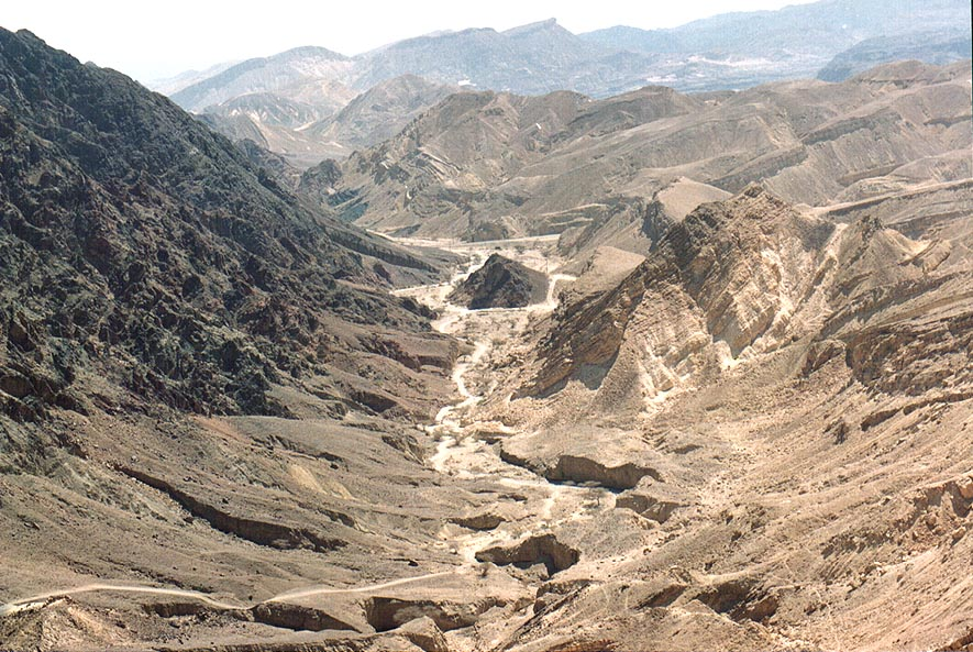 A short creek with a trail to Mount Shelomo from...north-west from Eilat. The Middle East