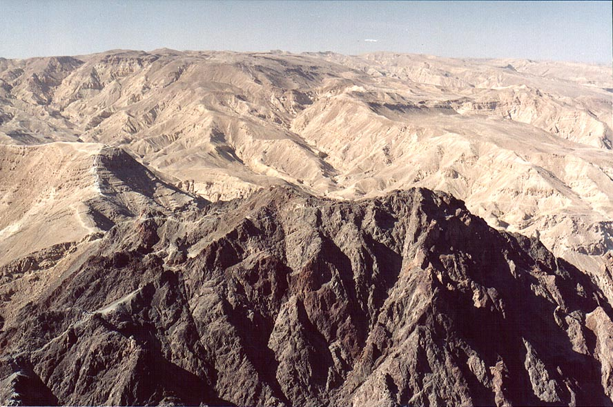 Mountain ridges and the northern summit of Mount...north-west from Eilat. The Middle East