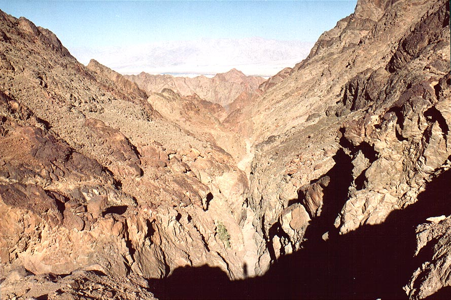 Narrowing of the canyon of Nahal Mapalim creek...north-west from Eilat. The Middle East