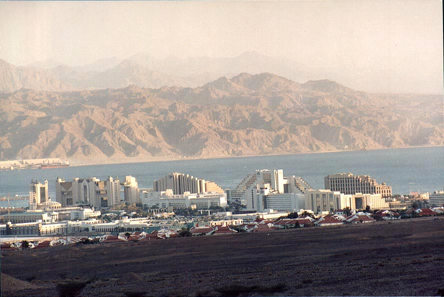 View of Eilat from Shahmon Mountains, 1.5 miles north from Eilat. The Middle East