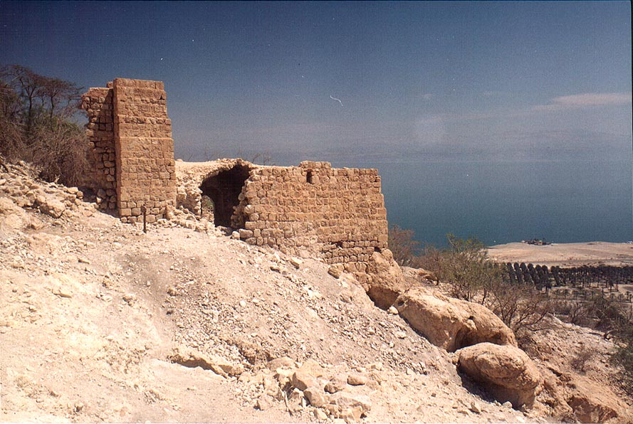Flour mill, with Ein Gedi and Dead Sea on background. The Middle East