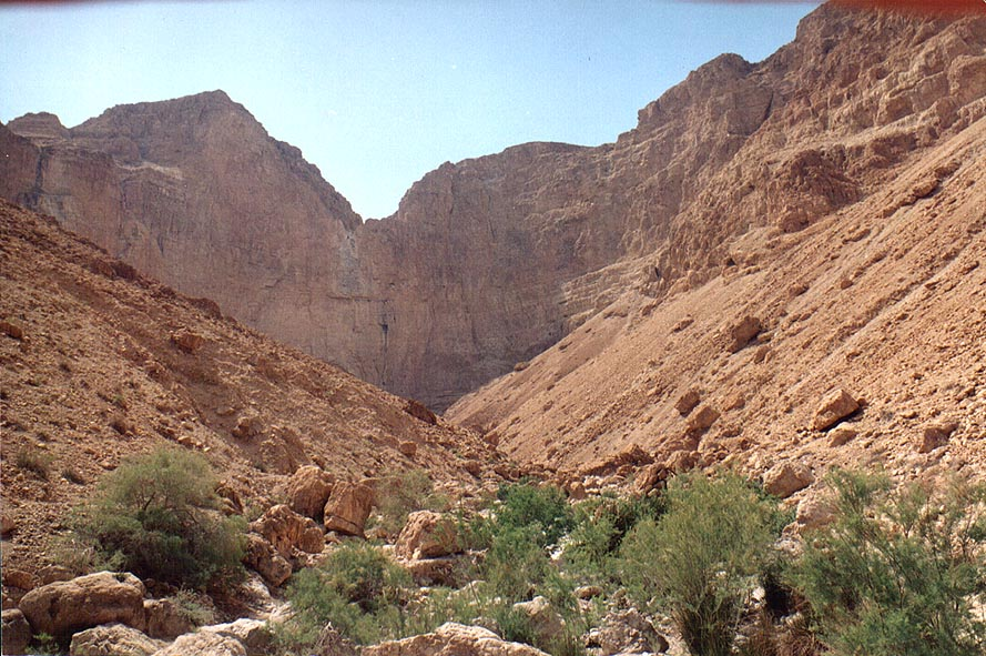 The upper Nahal David ending by a giant waterfall. Ein Gedi, the Middle East