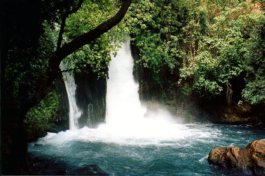 Banias Waterfall on Hermon River in Banias Park. Golan Heights, the Middle East
