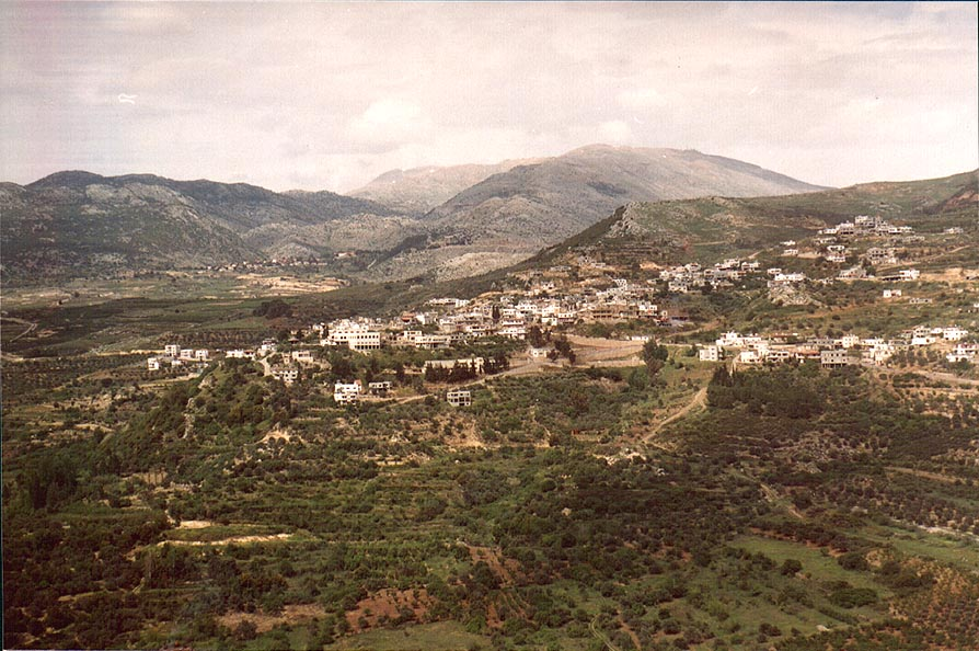 Kherouiaa village in Lebanon , view from Rd. 989. Golan Heights, the Middle East