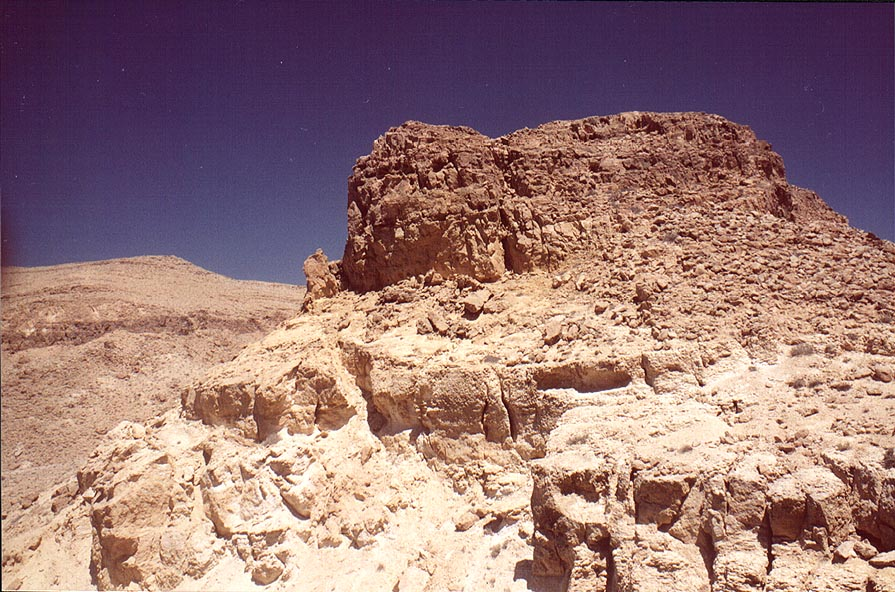 A hill near a waterfall of Nahal Darokh river 4.5...east from Sde Boker. The Middle East