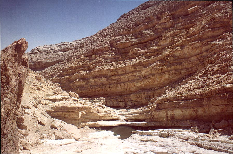 View of a big pool behind the second fall of...east from Sde Boker. The Middle East