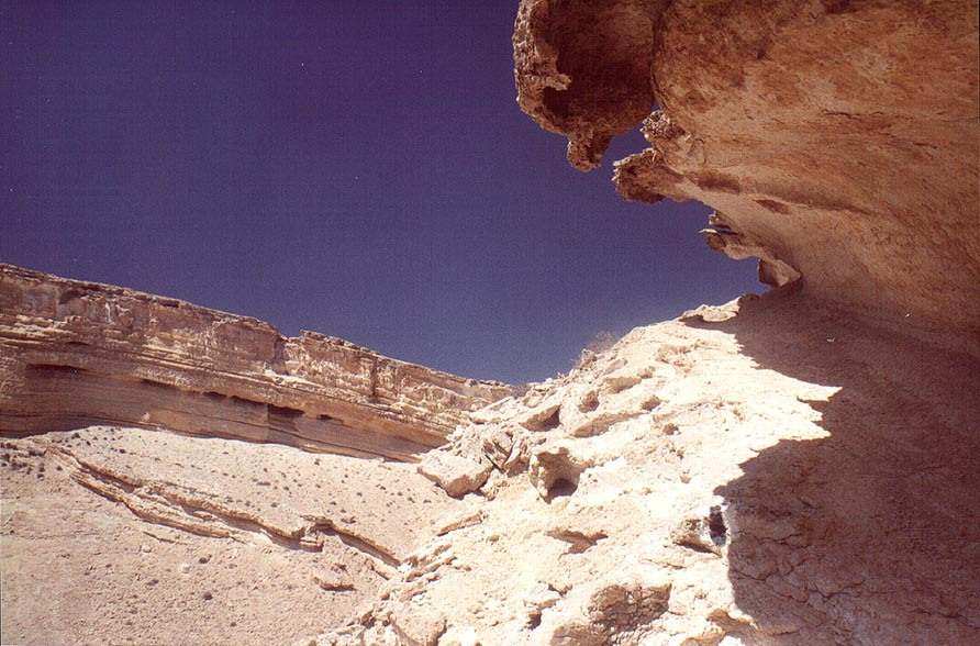Caves along the trail on the eastern side of the...east from Sde Boker. The Middle East