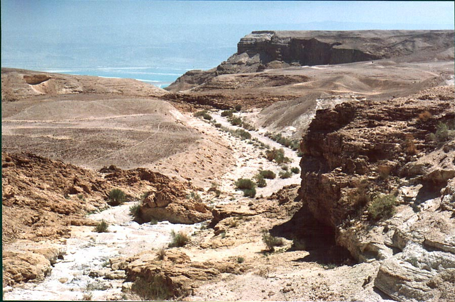 Approaching beginning of a canyon of Nahal Bokek...west from Ein Bokek. The Middle East