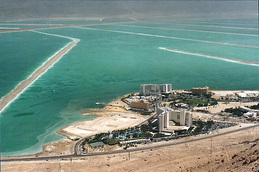 View of hotels of Ein Bokek and Dead Sea from Maale Bokek ascent. The Middle East