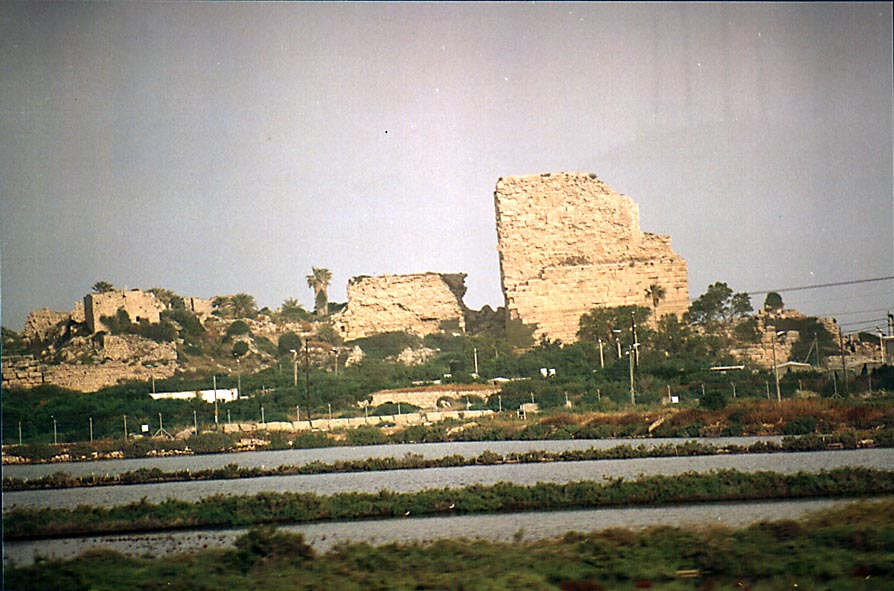 View of Crusader's Castle (now a military camp...Haifa) from a train. The Middle East