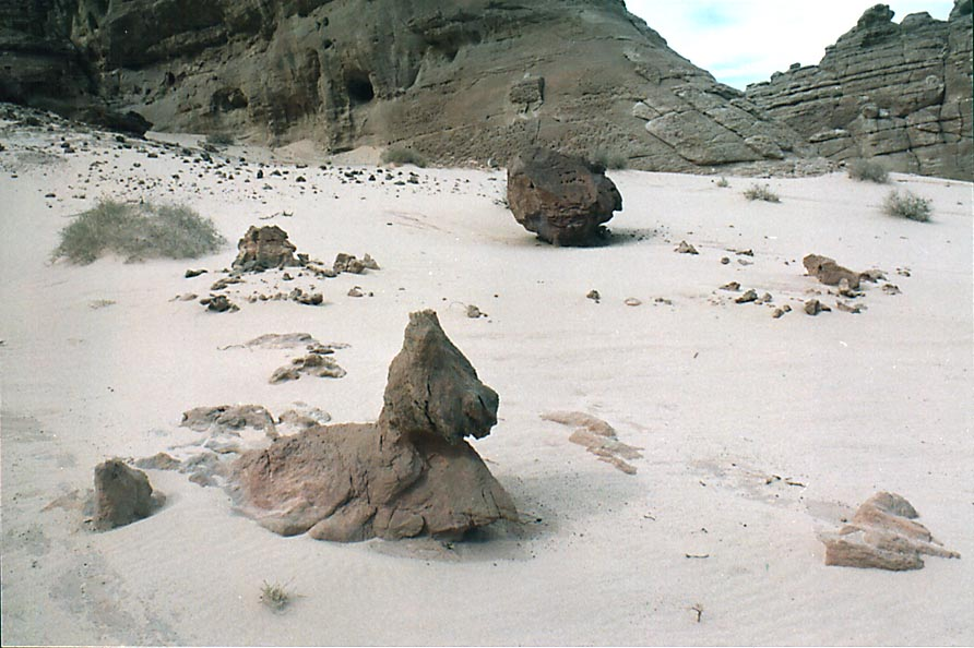 Ghostly forms in white sand at the foot of Timna...in western Timna Park. The Middle East