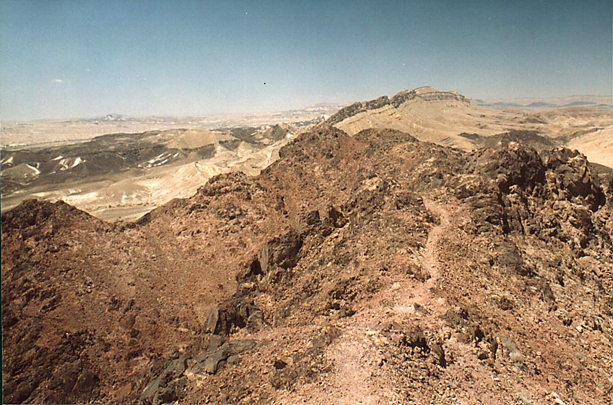 Summits of Ramon's Tooth, view to the west, with...from Mitzpe Ramon. The Middle East