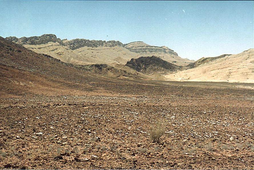 Bottom of Ramon Crater, view to the south-west, 4...from Mitzpe Ramon. The Middle East