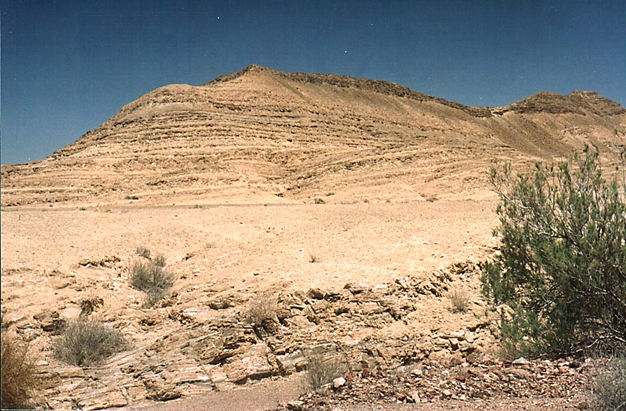 A hill at the bottom of Ramon Crater, view to the...from Mitzpe Ramon. The Middle East