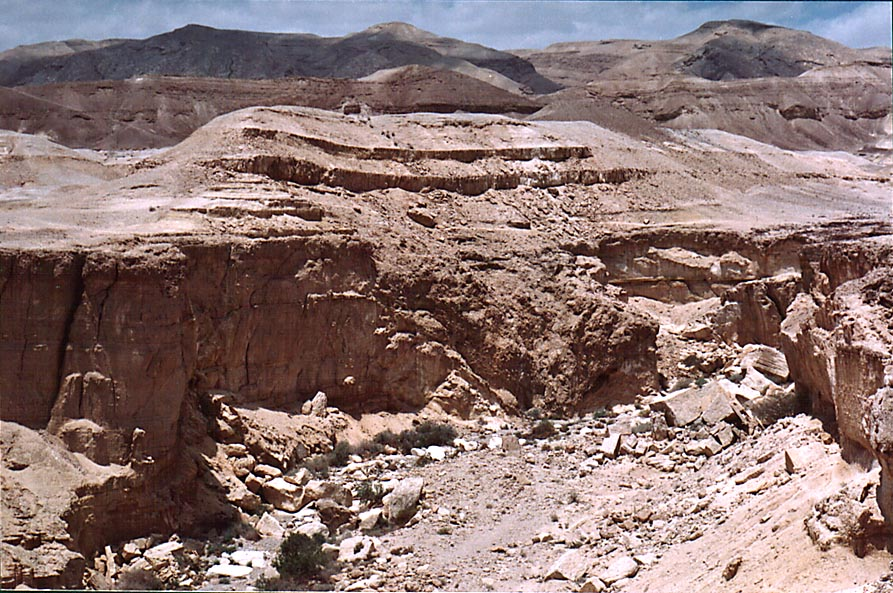 Beginning of the lower Nahal Peres Canyon 1 mile...view to the west. The Middle East