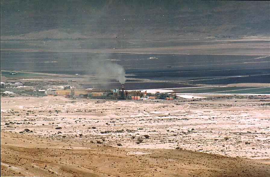 Zoomed view of the Dead Sea Works at distance of...east from Dimona. The Middle East