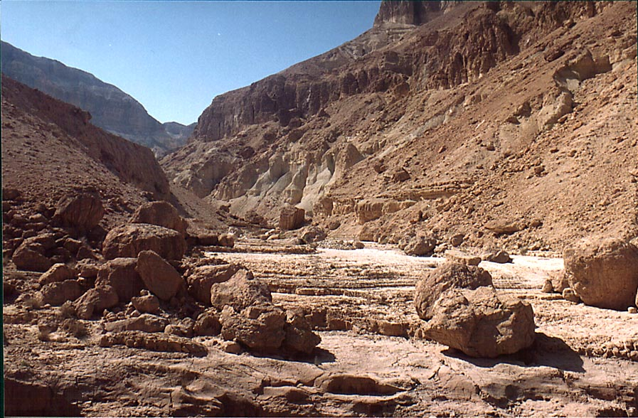 Flat open area of Tseelim Canyon (Gei Bahak) 3 miles north from Masada. The Middle East