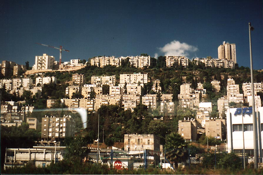 Haifa on the slope of Mount Karmel, view from a train. The Middle East
