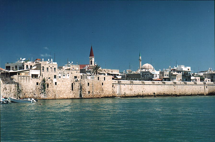 View of an eastern part of Old City of Akko...Akko restaurant). The Middle East