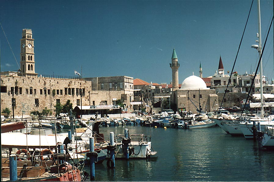 Fishing harbor and Old City of Akko, view from the wharf. The Middle East