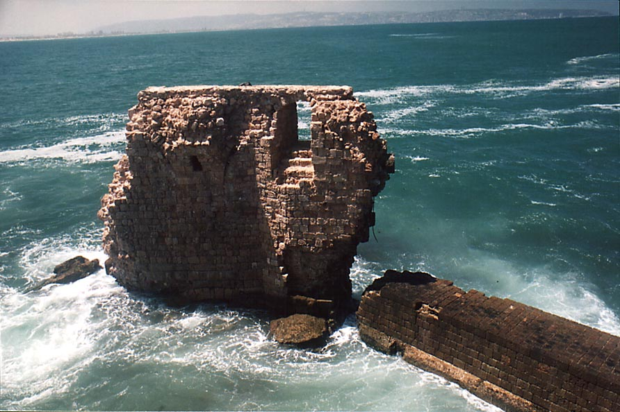 Ruins in sea opposite to Abu Christo restaurant...City of Akko (Acre). The Middle East