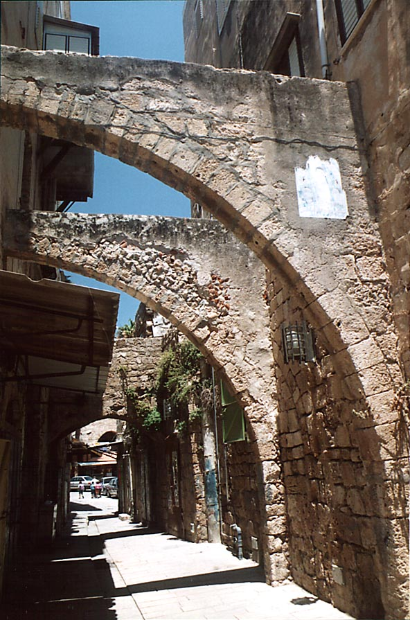 An arched ally in eastern part of Old City of Akko (Acre). The Middle East