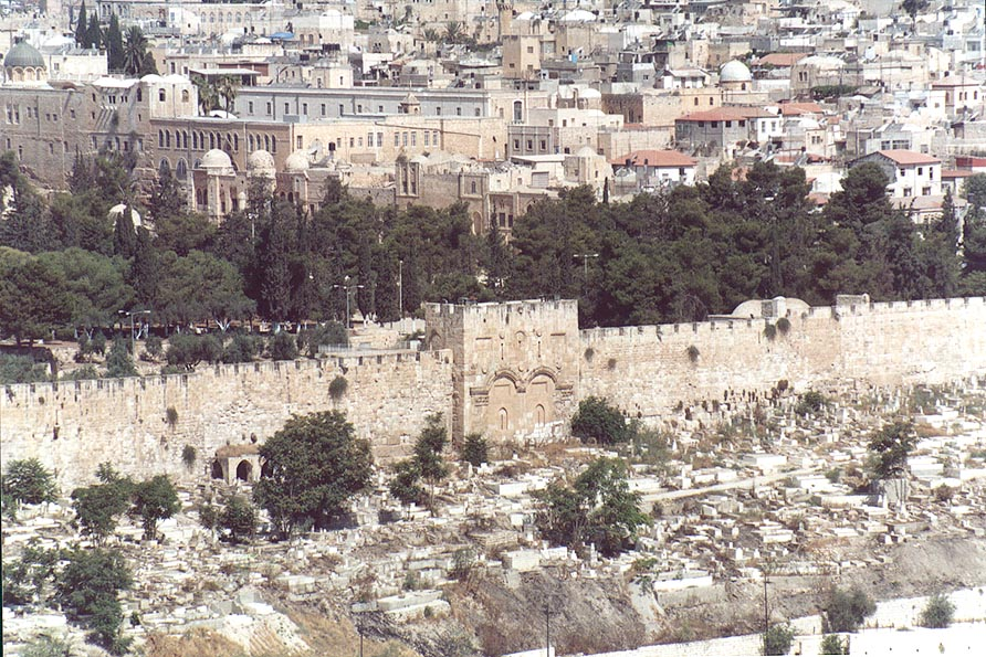 View of the Golden Gate and Moslem Cemetery from...of Olives. Jerusalem, the Middle East