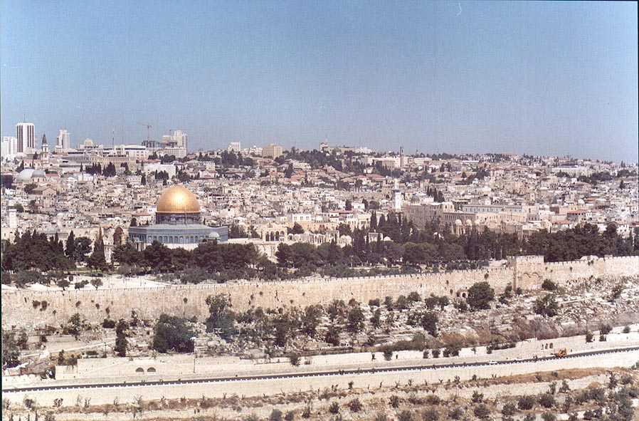 View of Kidron Valley and Old City from Mount of Olives. Jerusalem, the Middle East