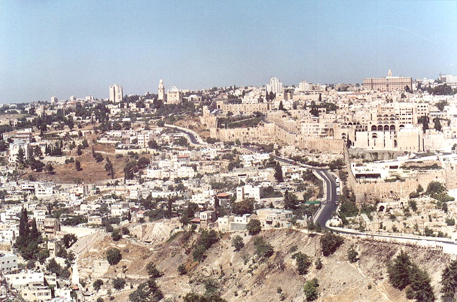 View of City of David and south-eastern City Wall...of Olives. Jerusalem, the Middle East
