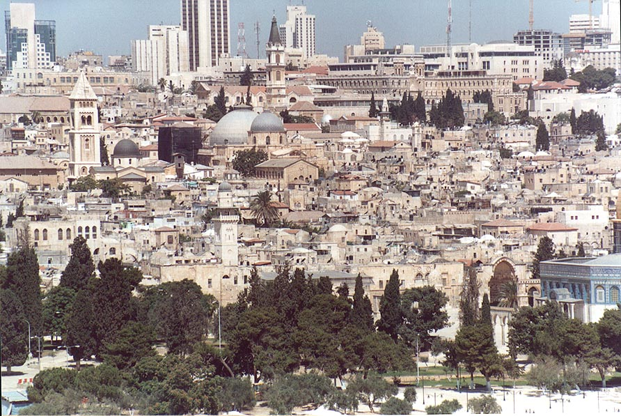 View of the Old City with domes of the Church of...of Olives. Jerusalem, the Middle East