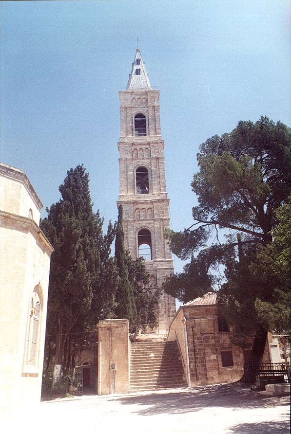 The church tower in Tur Malka Russian monastery...of Olives. Jerusalem, the Middle East