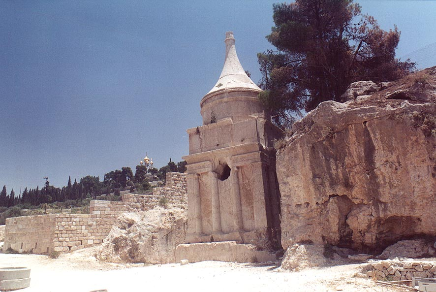 More distant view of Absalom's Tomb in Kidron...behind it. Jerusalem, the Middle East