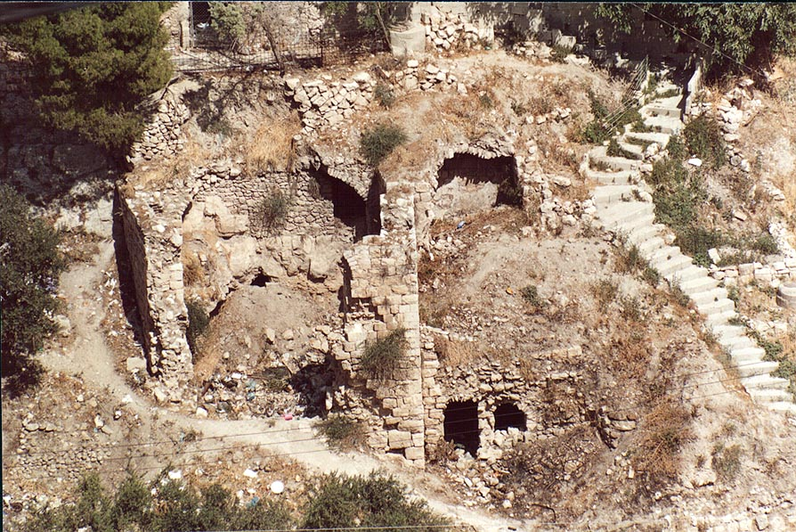 Tomb grottoes in the village of Siloah (Silwan...Valley. Jerusalem, the Middle East