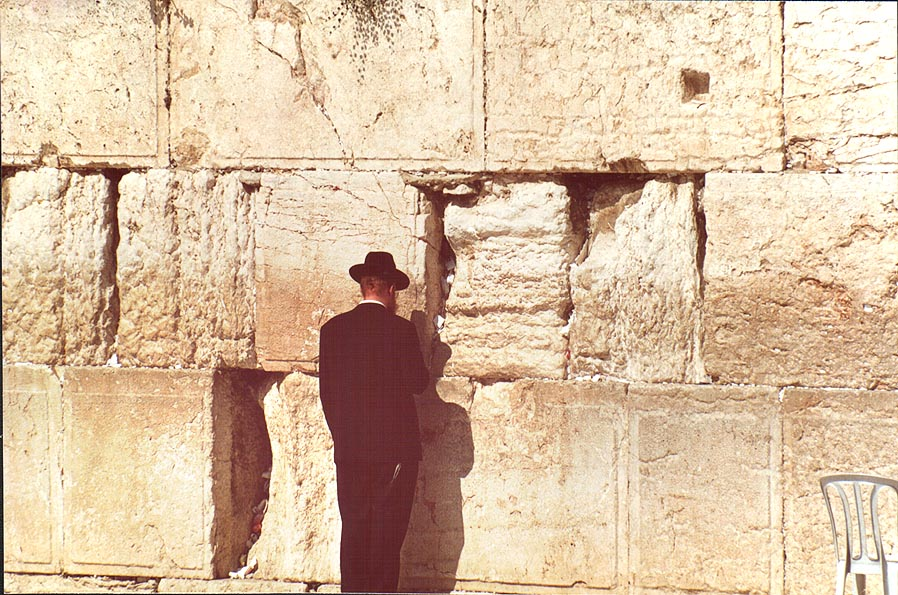 A Jew near Western, or Wailing Wall. Jerusalem, the Middle East