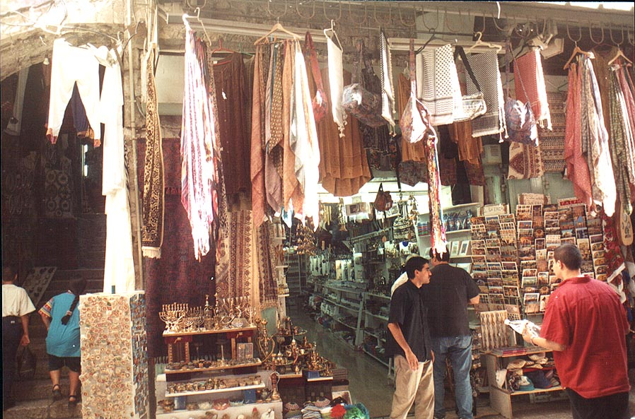 Souvenirs at Via Dolorosa in Old City. Jerusalem, the Middle East