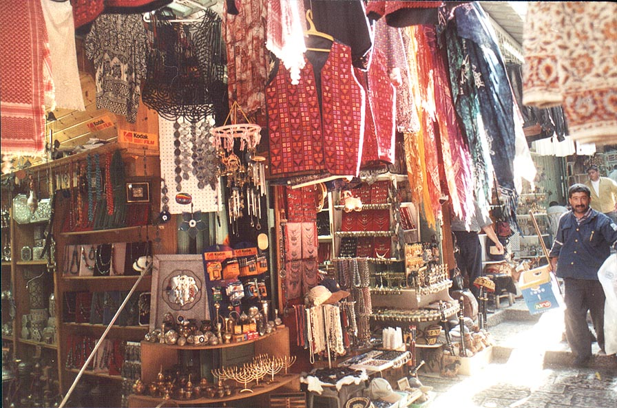 Souvenir shops at Via Dolorosa in Old City. Jerusalem, the Middle East