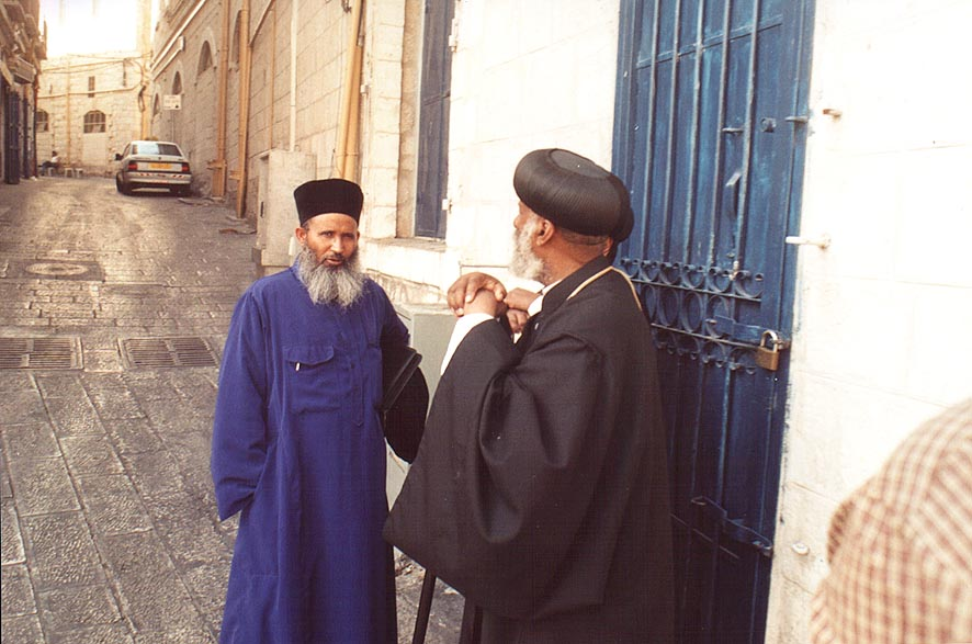 Unknown persons (picture taken without asking...Old City. Jerusalem, the Middle East