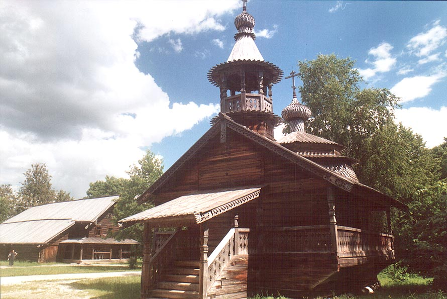 A Russian church in the museum of wood. Novgorod, Russia