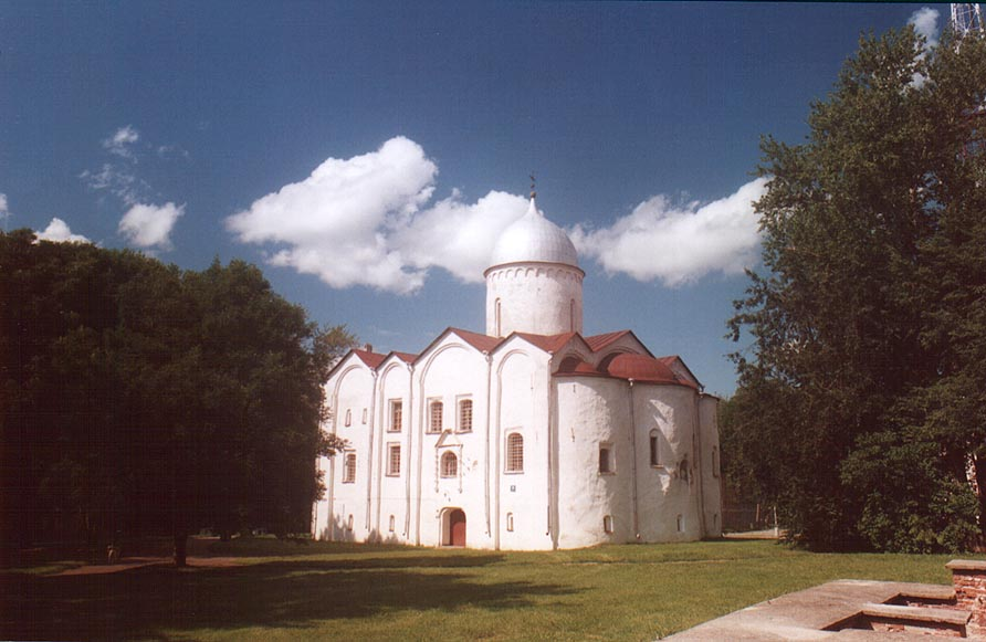 An Orthodox church in Gorodishche Area (Yaroslav Courtyard). Novgorod, Russia