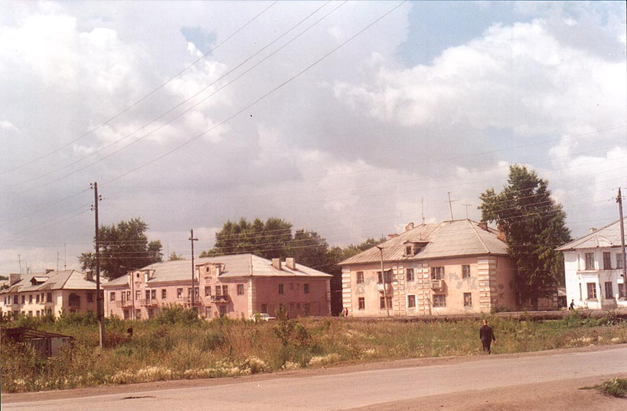 Houses opposite to the bus station in Krasnogorsk, near Cheliabinsk, south Ural. Russia