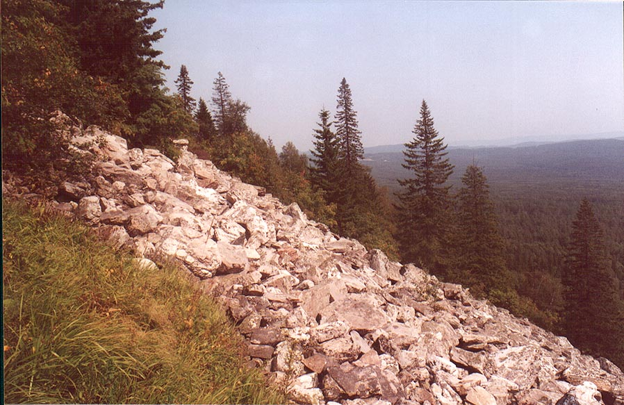 Typical for Ural piles of rock fragments on...near Zlatoust, Southern Ural. Russia