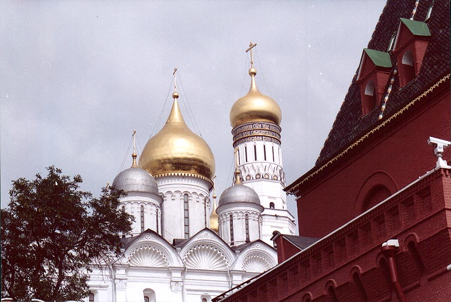 View of Vasiliy Blazhennyi cathedral in Kremlin...was closed at Thursday. Moscow, Russia