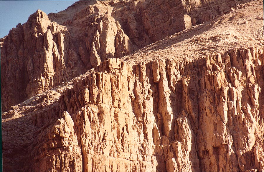 Limestone walls of the canyon of Ein Bokek, near Dead Sea. The Middle East